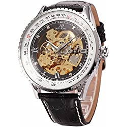 Ks Royal Carving Luxury Automatic Mechanical Skeleton Mens Black Leather Wrist Watch KS110