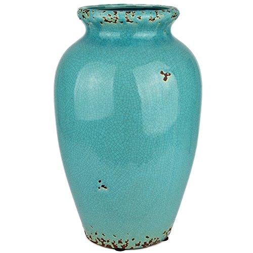Hochwertige Vase Türkis glasiert im Used Look Keramik jedes ein Unikat Rost Dekovase Bodenvase Krug Dekoration Tischvase 33 x 21 x 21 cm (Keramik-wohnzimmer Tisch)