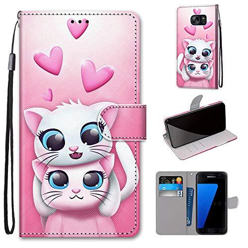 Miagon Flip PU Leder Schutzhülle für Samsung Galaxy S7,Bunt Muster Hülle Brieftasche Case Cover Ständer mit Kartenfächer Trageschlaufe,Katze Liebhaber