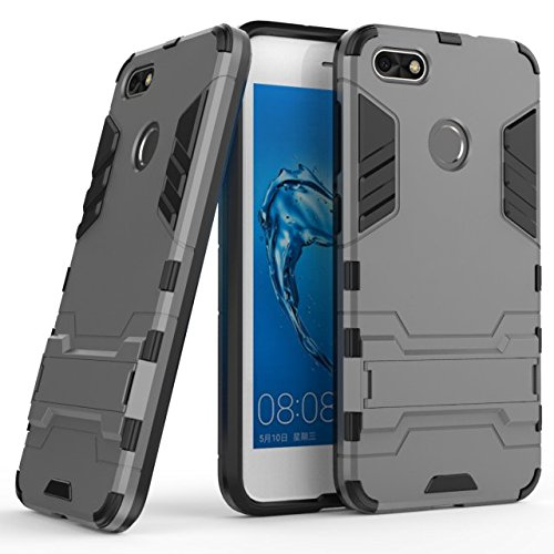 Huawei Y6 Pro 2017 case,Stylish cover GOGME [Tough Armor Series]Rugged TPU/PC Hybrid Armor, Anti-Scratch PC back panel + Shockproof TPU bumper+Foldable holder,Ultra-thin phone shell for Huawei Y6 Pro 2017 . gray