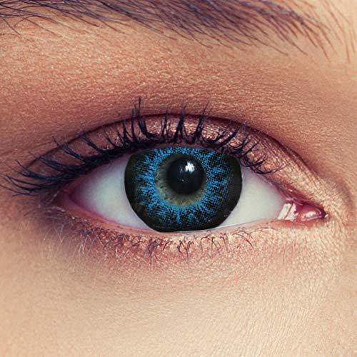 """Designlenses 2 Blaue Kontaktlinsen mit Stärke Drei Monatslinsen für einen Bigeye Effekt, geeignet für dunkle Augen + Gratis Behälter\""""High intensive Blue\"""" -2,00"""