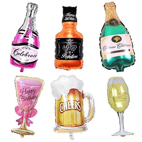 vientiane Folienballon Weinflasche, 6 Stück Riesen Inflated Aluminiumfolie Ballon Weinflasche und Weinglas Shape Ballons für Geburtstag Urlaub Hochzeit Party Dekoration