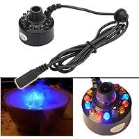 ZJchao(TM Cool! 12 LED-Ultraschall-Nebel-Hersteller Fogger Wasser-Brunnen-Teich + Netzteil