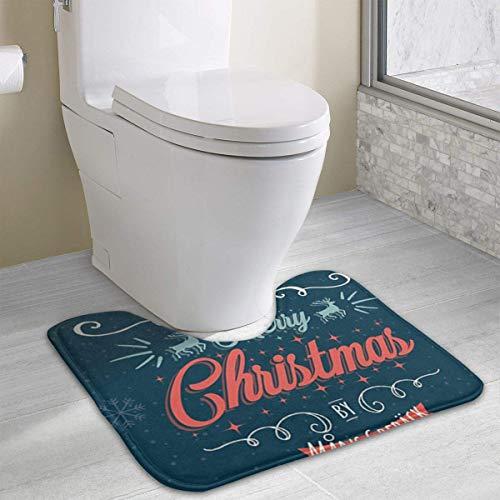 Hoklcvd Personalisierte Toilette Teppich-Wish-You-Merry-Christmas Toilette U-förmige MatCartoon weiche Matte Dusche Boden Teppichboden Badezimmer (Personalisierte Familie Hinweis Karten)