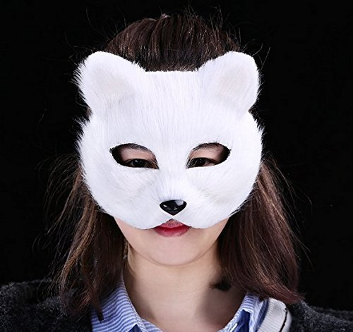 URGrace Halloween Tier Weiß Villus Fox Maske Für Frauen Cosplay Kostüm Party Obere Half Gesicht Halloween Masken Masquerade Tanz Masken (Halloween Kostüme Für Den School Dance)