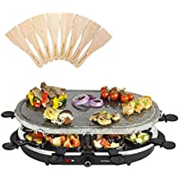 Andrew James Raclette Machine Set with Oval Stone Grill Plate | 8 Spatulas & Pans for Cooking Cheese and Side Dishes | Adjustable Temperature Control | 2m Power Cable | 1200W