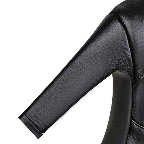 Voguezone009 Zehe Absatz Stiefel Schwarz wasserdicht materialien Blend Rund Hoher Damen Plattform FOfnrqF