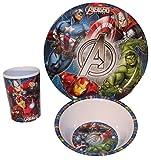 Marvel Avengers bambini Service con piatto, ciotola e bicchiere in melamina