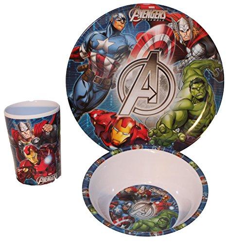 Marvel Avengers bambini, Servizio con piatto, ciotola per müsli e bicchiere in melammina
