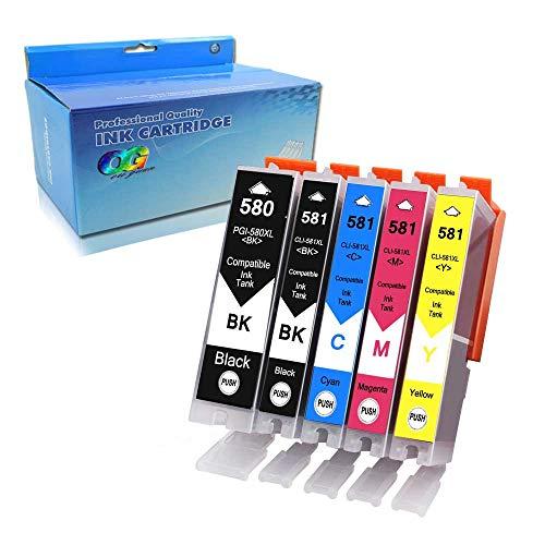 Ouguan, PGI-580 CLI-581 XXL, cartucce di inchiostro compatibili, 5x (1 nero, 1 foto-nero, 1 ciano, 1 magenta), per stampanti Canon Pixma TR7550 TR8550 TS6150 TS6151 TS8150 TS8151 TS8152 TS9150 TS9155