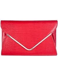 Girly Handbags - Pochette en simili cuir crocodile - Rouge