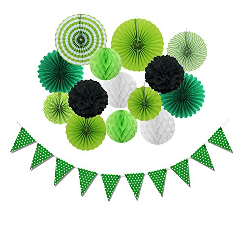 SUNBEAUTY St Patricks Party Decorations Kit Green Paper Honeycomb Fans Green Dot Banner for Birthday Home Event Tropical Summer Party Supplies 15 Pieces (ST-2)