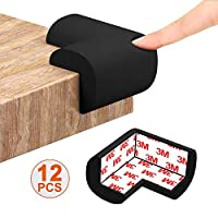 Corner Protectors for Kids Black Baby Safety Corner Guards Cushion Child Proofing Adhesive Edge Foam Bumper for Furniture, Table, Desk, Beds, Walls, 12pcs