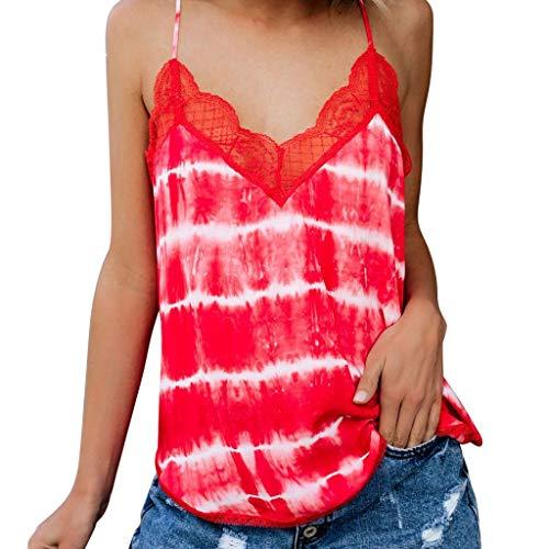 SANFASHION Femme Shirt Bretelle Haut Col V Boutons Tops Sexy Basique Vêtement Bonne Qualité Amincissant Blouse Élégant Casual Florale Sport Basique (XL, Rouge Dentelle)