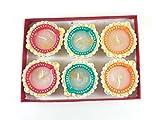 Radha Krishna Creation Handpainted Terracotta Diya (Set of 6)