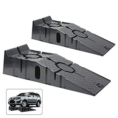 Wolf Heavy Duty Wide 2.5 Ton Car Ramp Set Moulded Set Of 2 Suitable for Low Clearance Vehicle Mechanic Garage Super Strong and Safe