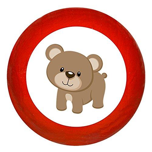 Kindermöbelknopf Bär rot Holz Kinder Kinderzimmer 1 Stück Waldtiere -