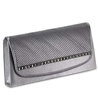 caspar abendtasche clutch silber grau bekleidung. Black Bedroom Furniture Sets. Home Design Ideas
