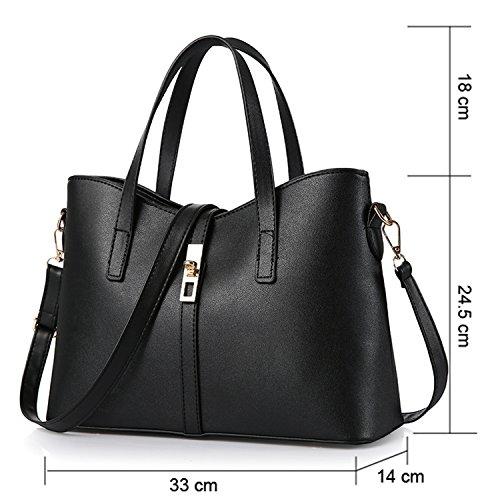 Young & Ming - Damen Leder reine Farbe Handtaschen Clutches Shopper Schultertaschen Handbag' Schwarz
