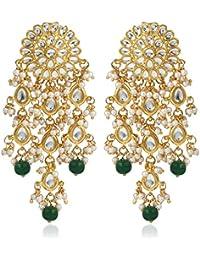 Karatcart GoldPlated Kundan Chandbali Hook Dangler Stylish Fancy Party Wear Earrings For Women