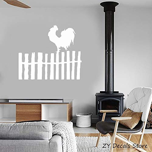 Hahn Bird Farm Village Modernes Dekor Aufkleber Zaun Wand Fensteraufkleber Home Wohnzimmer wasserdichte Vinyl Wand Sticker65 * 56 cm (Wand-dekor Zaun)