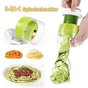 ADORIC Spiralschneider Hand [ 3 in 1 ] Gemüse Spiralschneider, Gemüsehobel für Karotte, Gurke, Kartoffel,Kürbis, Zucchini, Zwiebel, Gemüsespaghetti,Tastenumschalten.