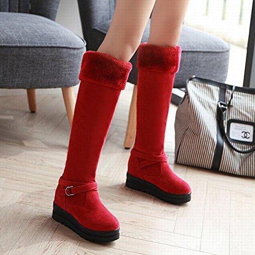 Mee Shoes Damen runde Pompon langschaft Nubukleder Stiefel Rot