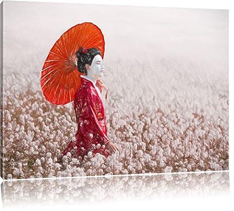 Geisha auf dem Feld Kunst Buntstift Effekt, Format: 100x70 auf Leinwand, XXL riesige Bilder fertig gerahmt mit Keilrahmen, Kunstdruck auf Wandbild mit Rahmen, günstiger als Gemälde oder Ölbild, kein Poster oder (Cool 2 Person Kostüme)