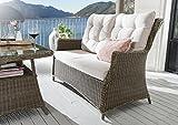 2er Loungesofa Casa vintage braun Geflechtsofa Sofa Gartensofa mit Polster