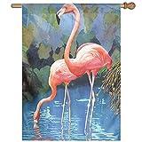 Dozili Flagge, rosa Flamingos, Dekoration für den Garten, wetterfest und doppelseitig, Polyester, bunt, 12.5