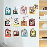 Bande Dessinée Mignon Animal Photo Cadre Décor À La Maison Stickers Muraux Hibou Chien Chat Enfants Chambre Bricolage Garde-Robe Pvc Amovible Autocollant Mural