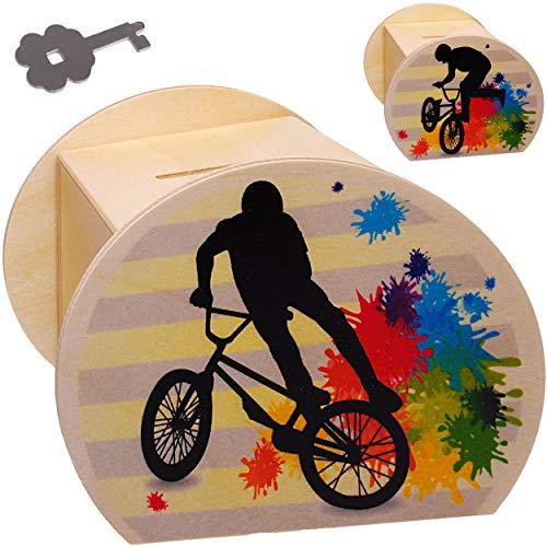 alles-meine.de GmbH große Holz - Spardose - BMX - Fahrrad / Trial Bike - E-Bike - mit Schlüssel & Schloß - stabile Sparbüchse - 11,5 cm - Sparschwein - für Kinder & Erwachsene - ..