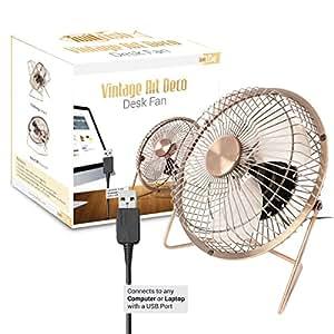Twitfish® Vintage Art Deco USB Desk Fan (6 inch) - USB Desktop Cooling Fan