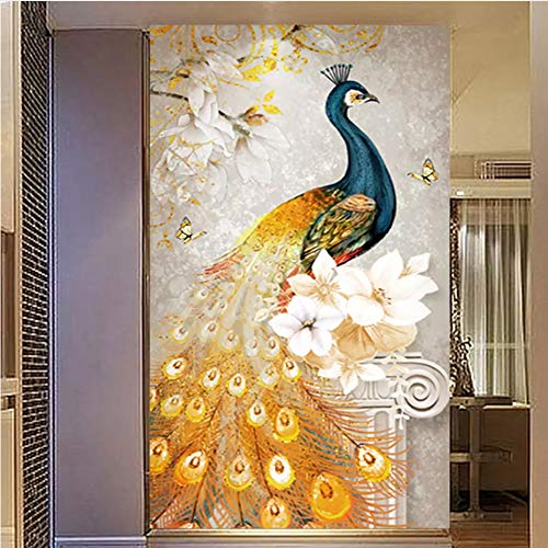 Meaosy Europäische Retro Goldene Abstrakte Blume Eingang Gang Dekorative Tapete Wandbild Wohnzimmer Tv Hintergrund Wandmalerei-350X250Cm