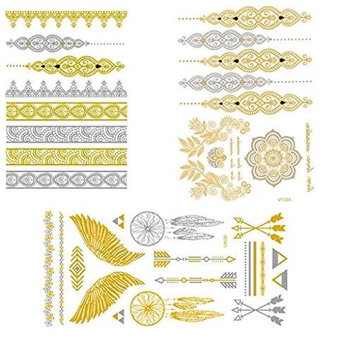 SwirlColor 3 Packs of Temporary Tattoo Sheet DIY Metal Flash Tattoo Stickers