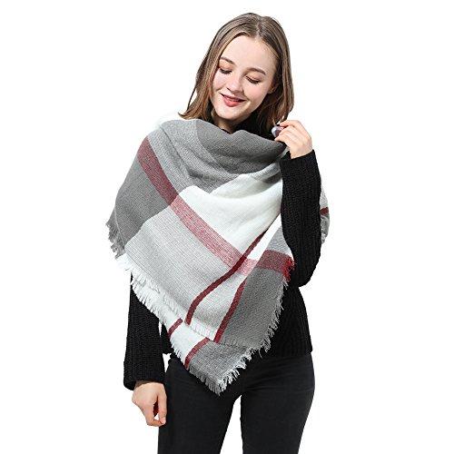 Schal Damen Scarf Womens Langer Schal Winterschal Damen Schöne Schals, weiß / grau / kastanienbrauner, Gr. one size