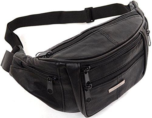 Unisex piel de napa bolsa de cintura/riñonera/riñonera con varios bolsillos