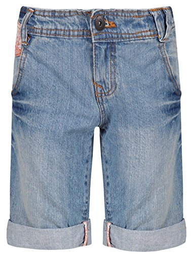 Ex-Store Ages 8-15 Girls Bermuda Jeans Floral Shorts Knee Length Mid Blue Denim