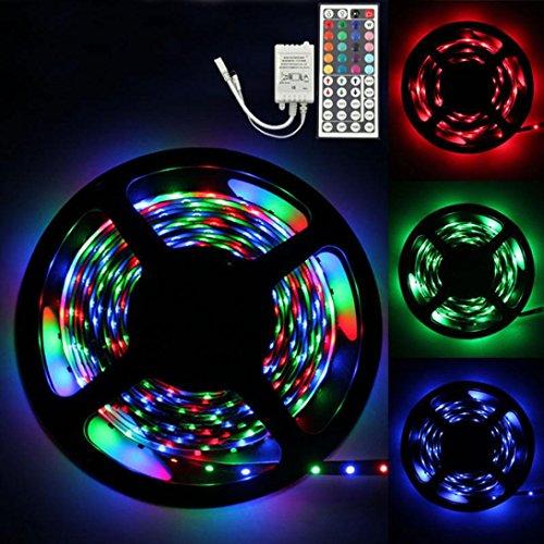 Led Stripes, Gusspower Wasserdicht USB Powered 3528 RGB Weiß Led Streifen Lichterkette Licht Streifen mit 44 Schlüssel-Fernbedienung für Weihnachten Kicthen Party Innen und Außendekoration (3M)
