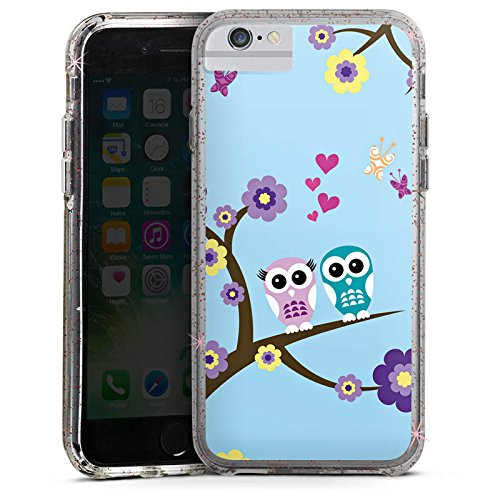 Apple IPhone 6 Bumper Hulle Case Glitzer Eule Owl Blumen Rose