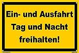 Kleberio® Warn Schild 30 x 20 cm Einfahrt - Ein- und Ausfahrt Tag und Nach freihalten! - mit 4 Bohrlöchern (4mm) in den Ecken stabile Aluminiumverbundplatte