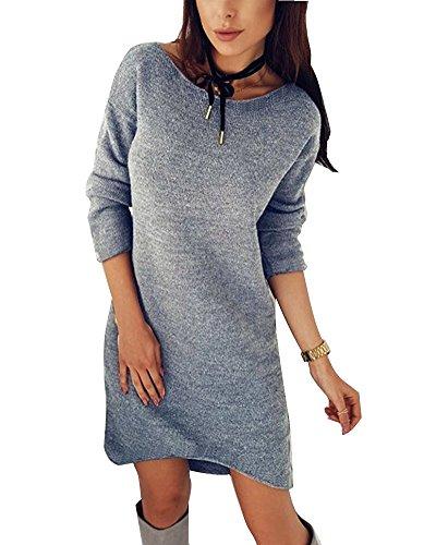 Minetom Damen Pullover Kleider Strickkleid Sweater Winterkleider Kleid Sweatkleid Strickkleider Langarm Mode Kausal Stricksweat Strickpullover Sweatkleid Oversized Hellgrau DE 40