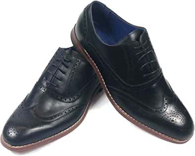 Mens Brogues Soft Comfortable Smart Formal Dress Work Lase up Shoes Wide Fitting Boots Black & Brown Sizes UK 6 7 8 9 10 11 12