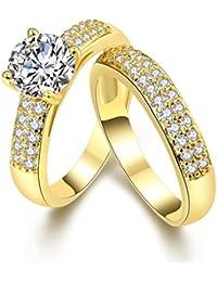 AMDXD Schmuck Vergoldet Damen Ringe (Eheringe) Einem Großen Weiß Und Voller Kleiner Gr.57 (18.1)
