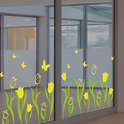 Fleurs tulipes fleurs chaude vitrine de verre, de décalques longeant la ligne d'angle mural,yellow