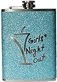 """Flachmann aus Edelstahl in glitzerndem Türkis, mit englischsprachiger Aufschrift """"Girls Night Out"""""""