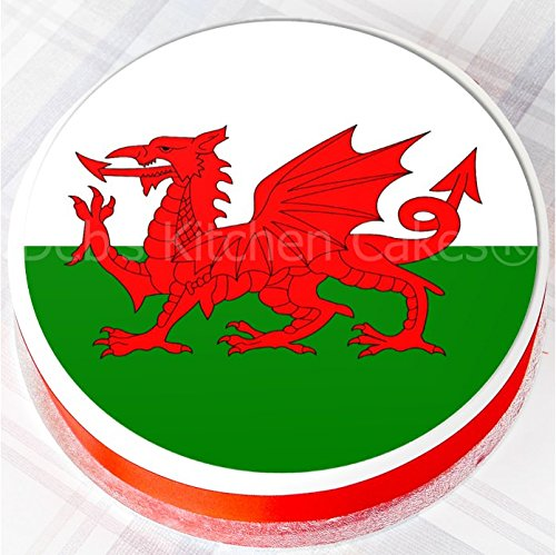 welsh-flag-st-davids-day-cake-topper-edible-icing-75-19cm-round-by-debs-kitchen-cakes