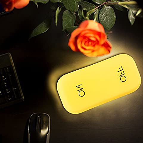 Lampe de bureau ON-OFF, umitrend Lampe de table portable rechargeable Lampe de pépinière de charge USB avec capteur de gravité Lampe de chevet LED pour enfants Enfants jaune
