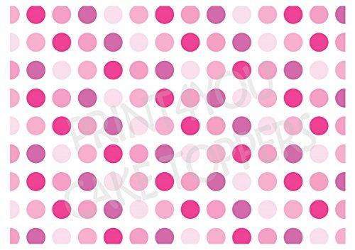 dekoration, Kuchen Tortenaufsatz, essbarer Hintergrund, nwp03Pink Polka Dots ()