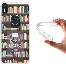 Funda Bq Aquaris X5 Plus, WoowCase [ Bq Aquaris X5 Plus ] Funda Silicona Gel Flexible Keep Calm and Read a Book, Carcasa Case TPU Silicona - Transparente